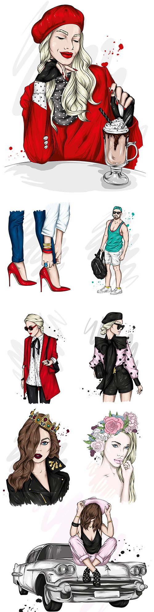 Beautiful girl and guy in stylish clothes with fashion accessories 4
