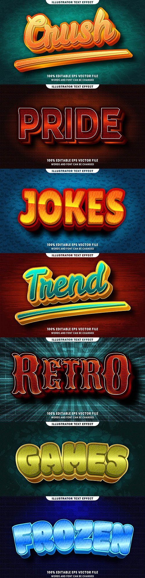 Editable font and 3d effect text design collection illustration 62