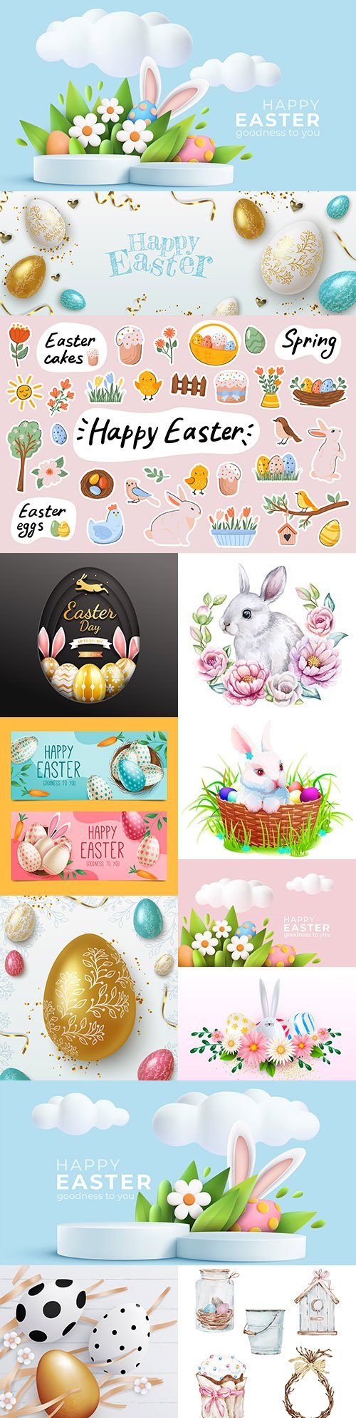 Happy Easter background and design banner with colorful eggs 6