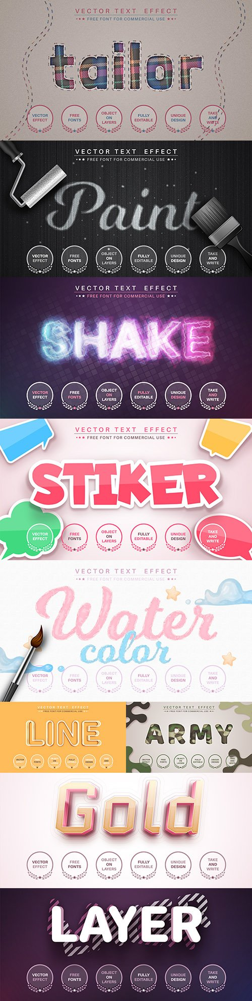 Editable font and 3d effect text design collection illustration 64