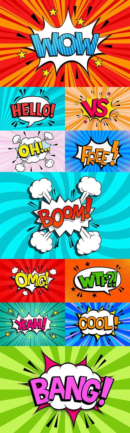 Text effect in comic speech bubble in style pop art