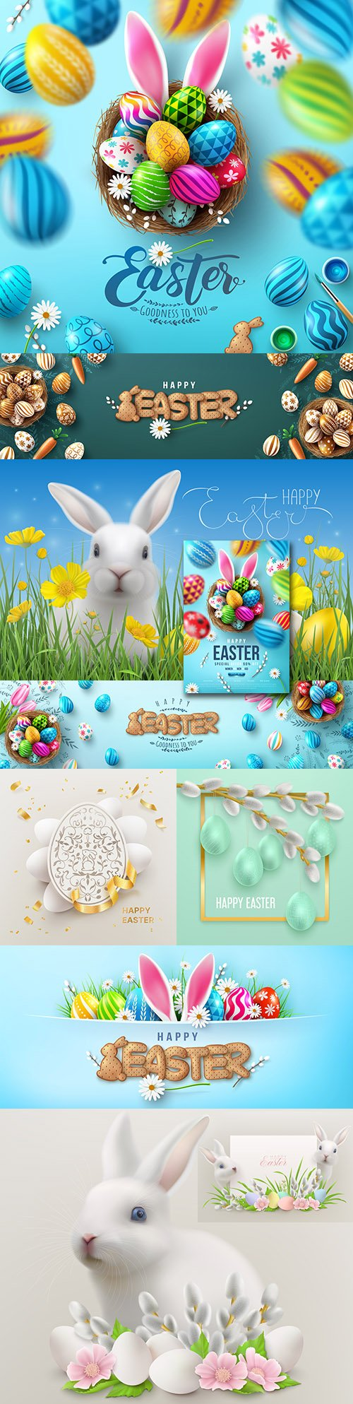 Happy Easter background and design banner with colorful eggs 7