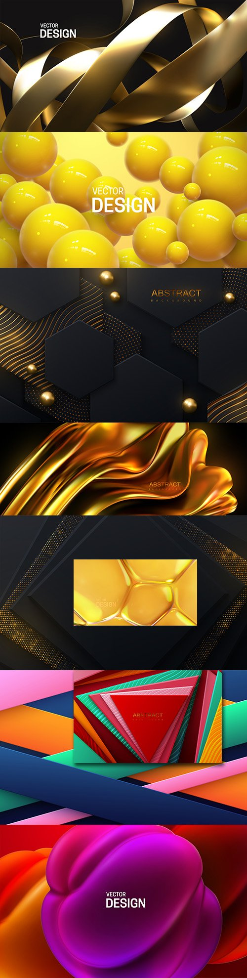 Abstract geometric background with gold and colored concentric spheres 2