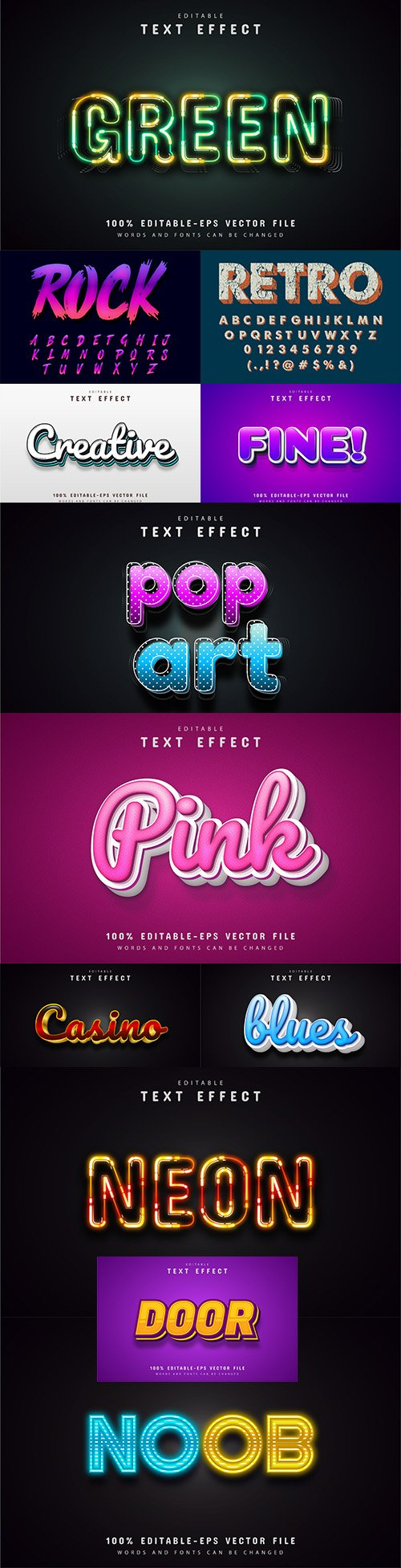 Editable font and 3d effect text design collection illustration 66