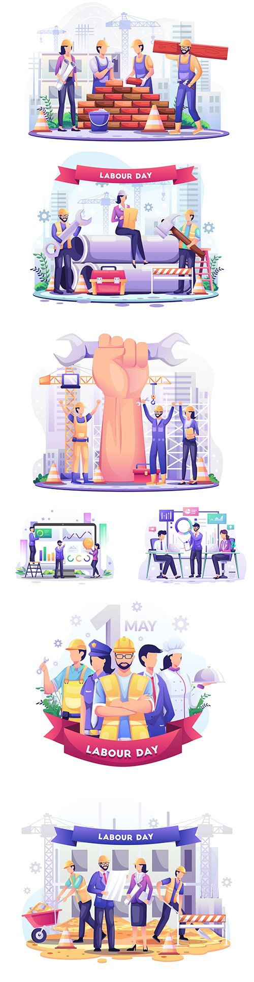 Labor Day 1 May and business analysis concept illustration