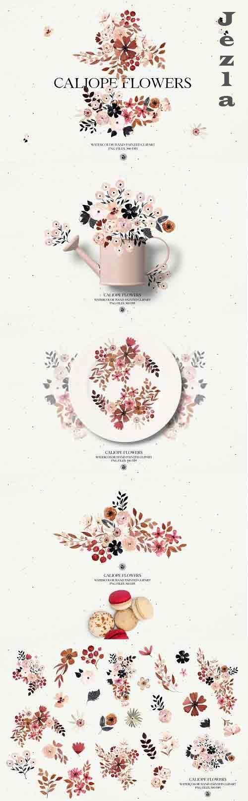 Caliope Flowers - watercolor clipart - 6071045