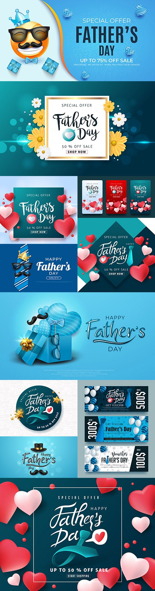 Happy Father 's Day design greeting card and banner 7