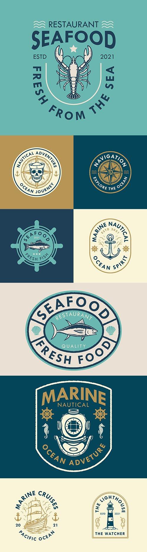 Marine logo design and retro style badges illustration