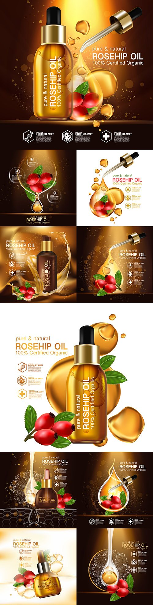 Rosehip Oil cosmetics for skin care Realistic Illustration