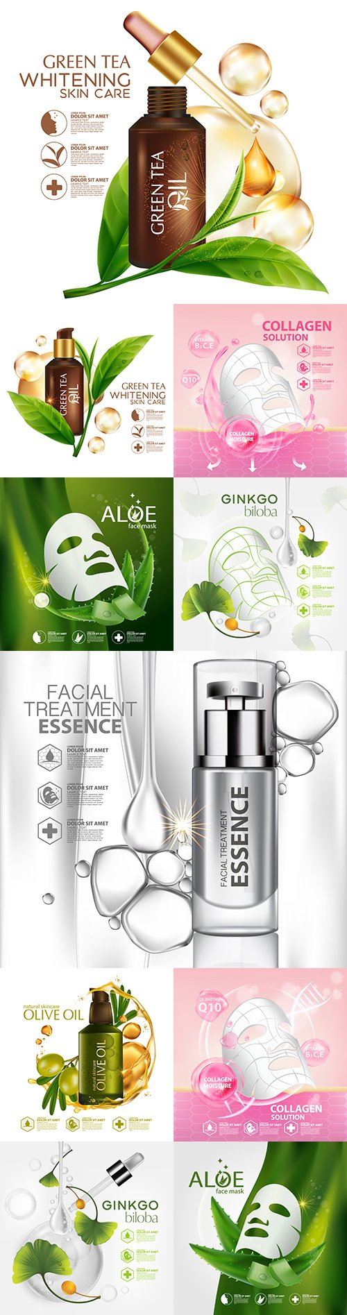 Skin care cosmetics with natural ingredients is realistic illustration 4