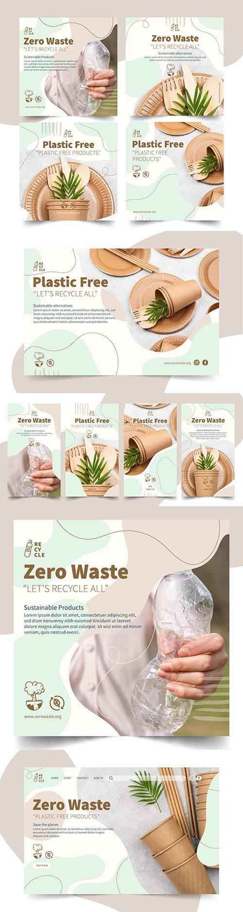 Zero waste and plastic free products design illustration