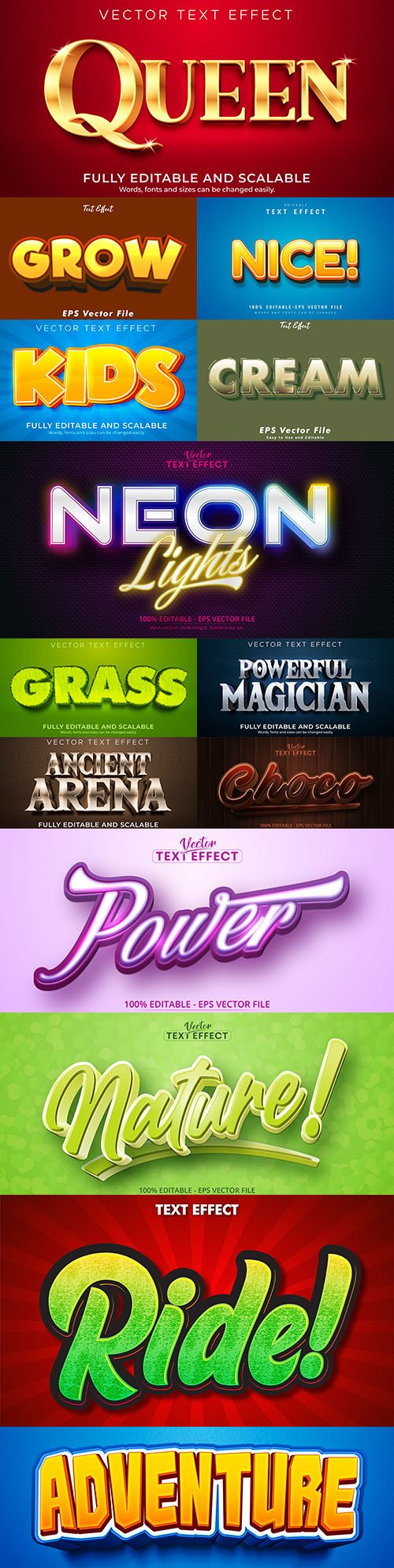 Editable font and 3d effect text design collection illustration 71