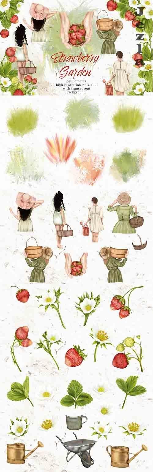 Summer Strawberry Clipart Girl Garden Cottage Flower Leaves - 1312624