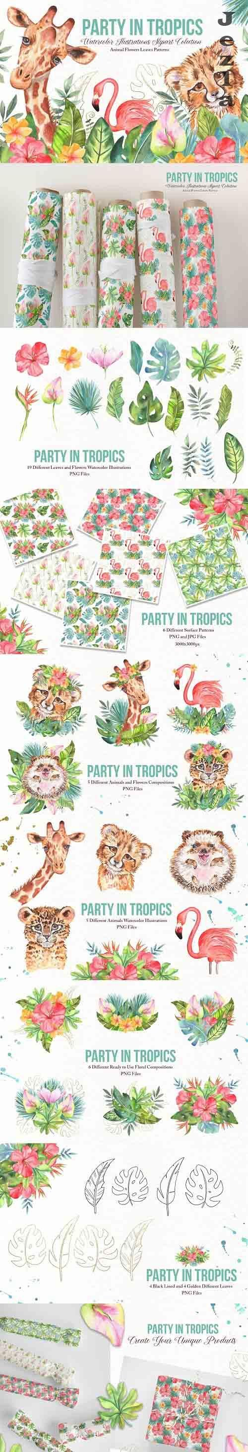 Watercolor Tropical Party - 6091590