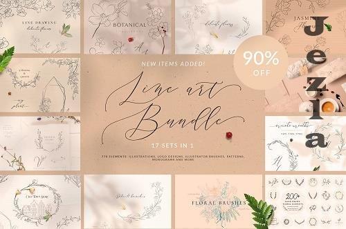 Line Art Floral Graphic Bundle  4753383