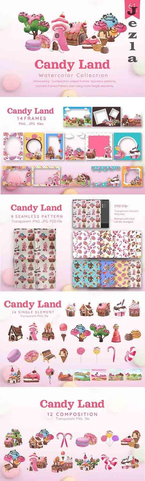 Sweet Candy Land, Cartoon Watercolor - 6114907