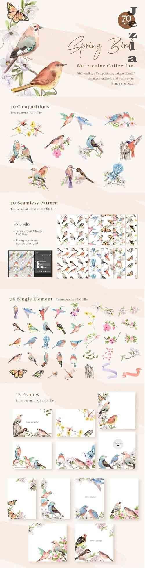 Spring Birds of Spring Watercolor - 6114931