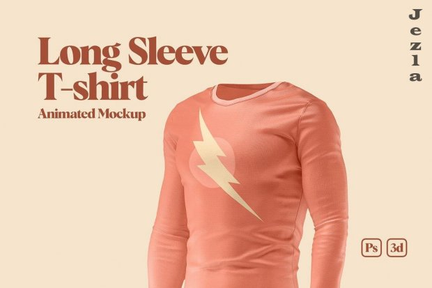 CreativeMarket - Long Sleeve T-shirt Animated Mockup 6040925