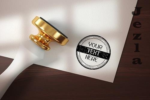 Rubber stamp logo - mockup template 6117336