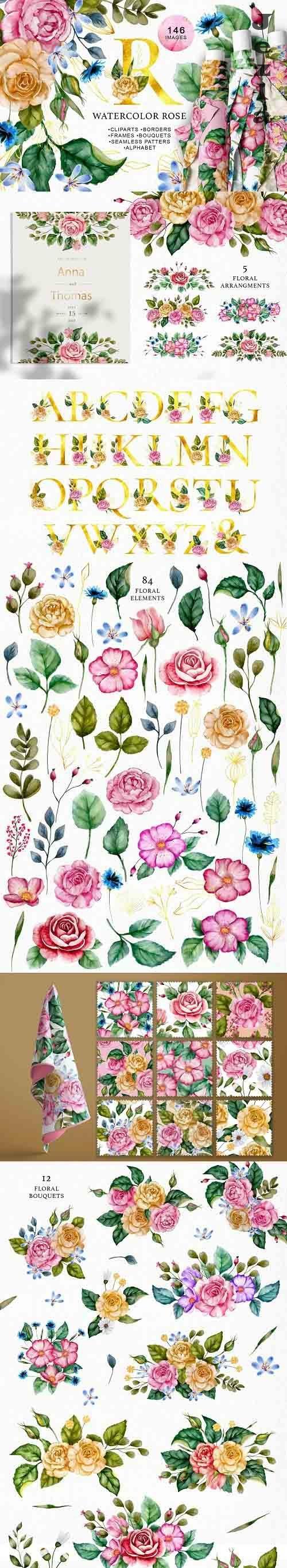 Watercolor Flowers & Golden Alphabet - 6119281