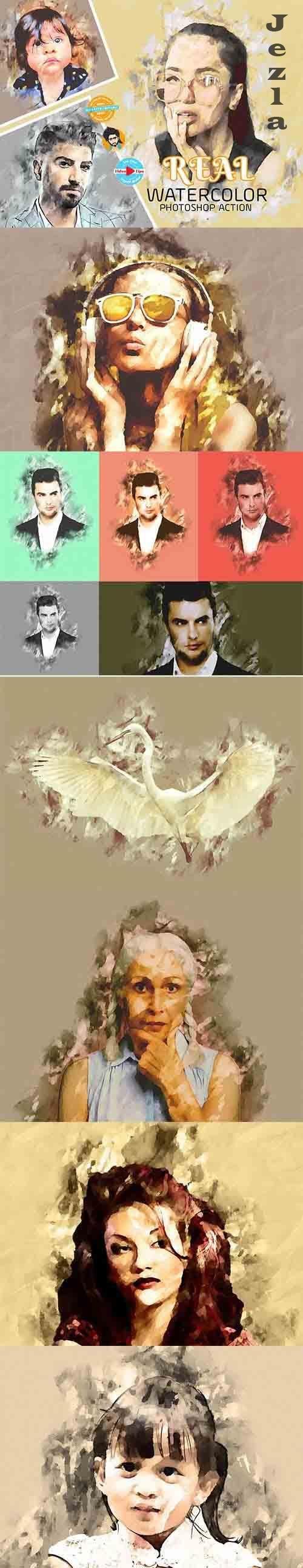 CreativeMarket - Real Watercolor Photoshop Action 5985513