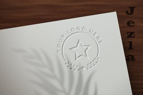Logo Mockup Embossed on Paper - Mockup - 6121230