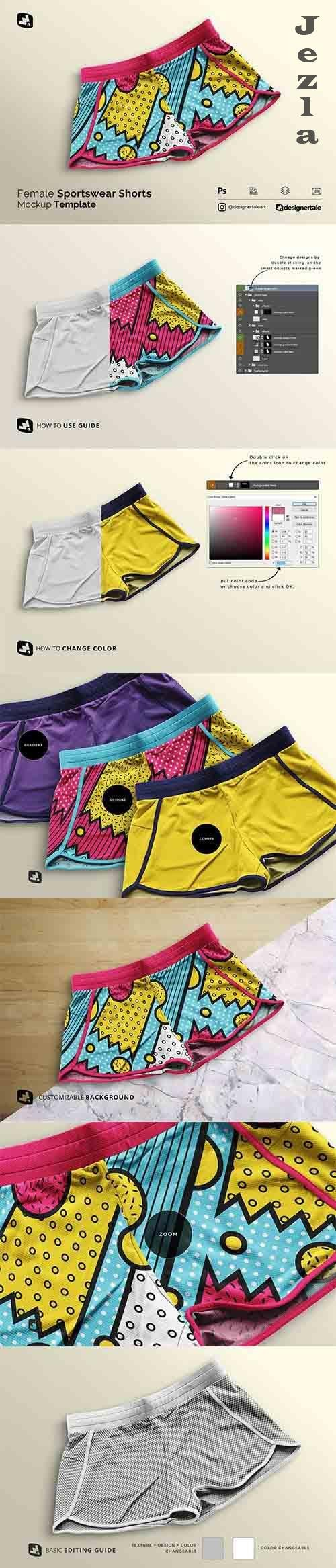 CreativeMarket - Female Sportswear Shorts Mockup 5357877