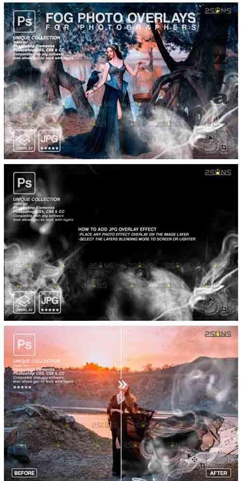 Smoke backgrounds & Smoke bomb overlay, Photoshop overlay V2 - 1213553