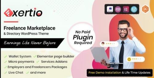 ThemeForest - Exertio v1.0.5 - Freelance Marketplace WordPress Theme - 30602587