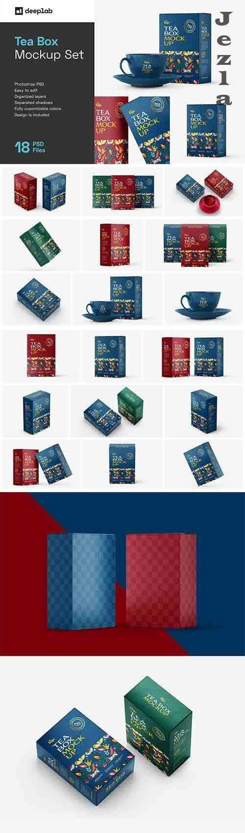 Tea Box Packaging Mockup Set - 5971990