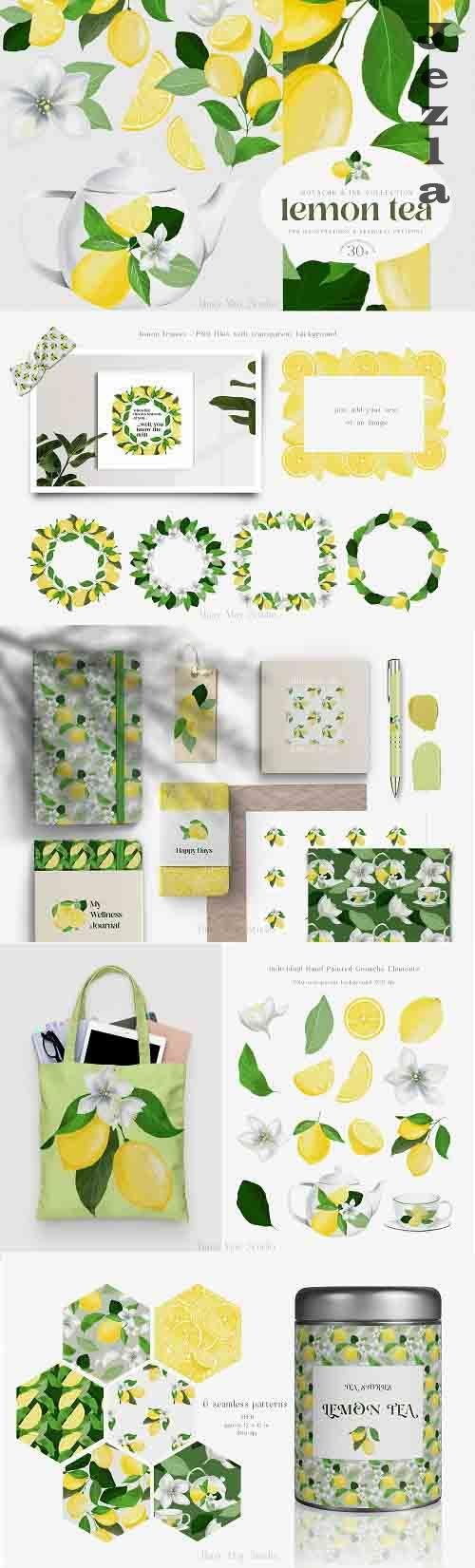 Lemon Gouache Illustrations and Seamless Patterns Summer PNG - 1353437