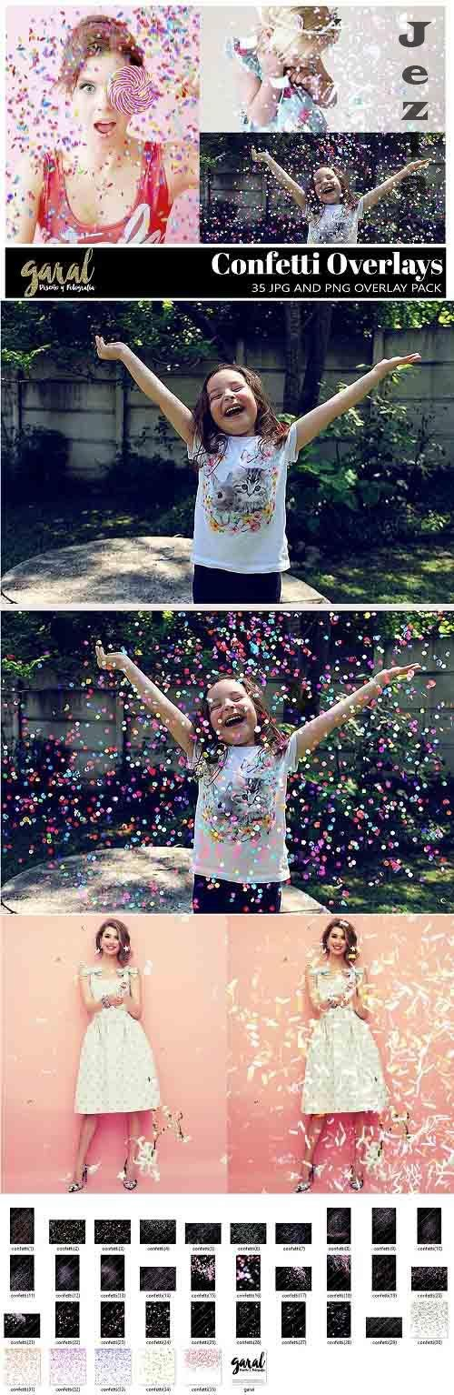 35 Confetti PHSP Overlays, JPG and PNG files - 484367