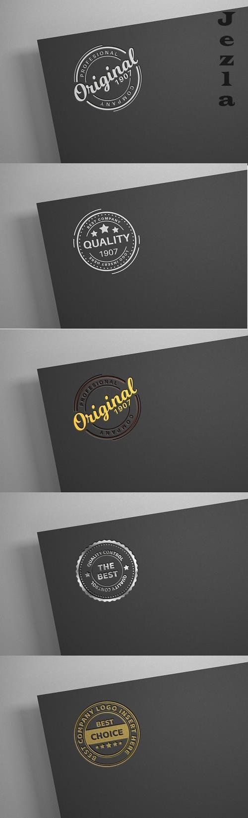 White logo on black paper - mockup - 6140325