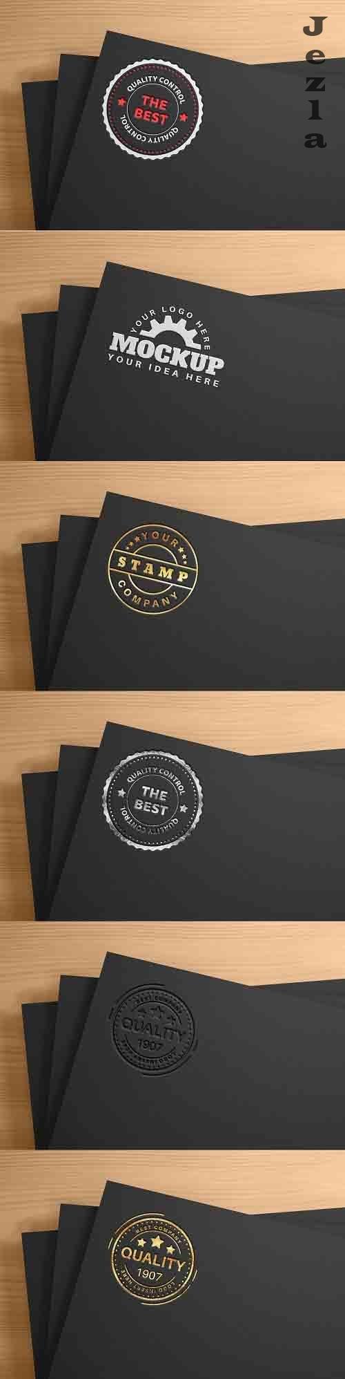 White logo on black paper - mockup - 6144500