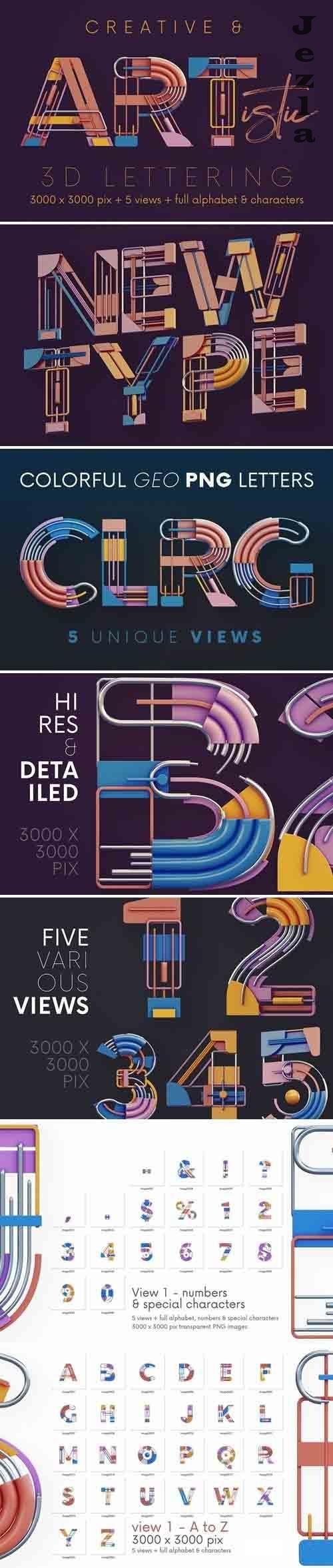 Colorful Geometry - 3D Lettering - 6108766