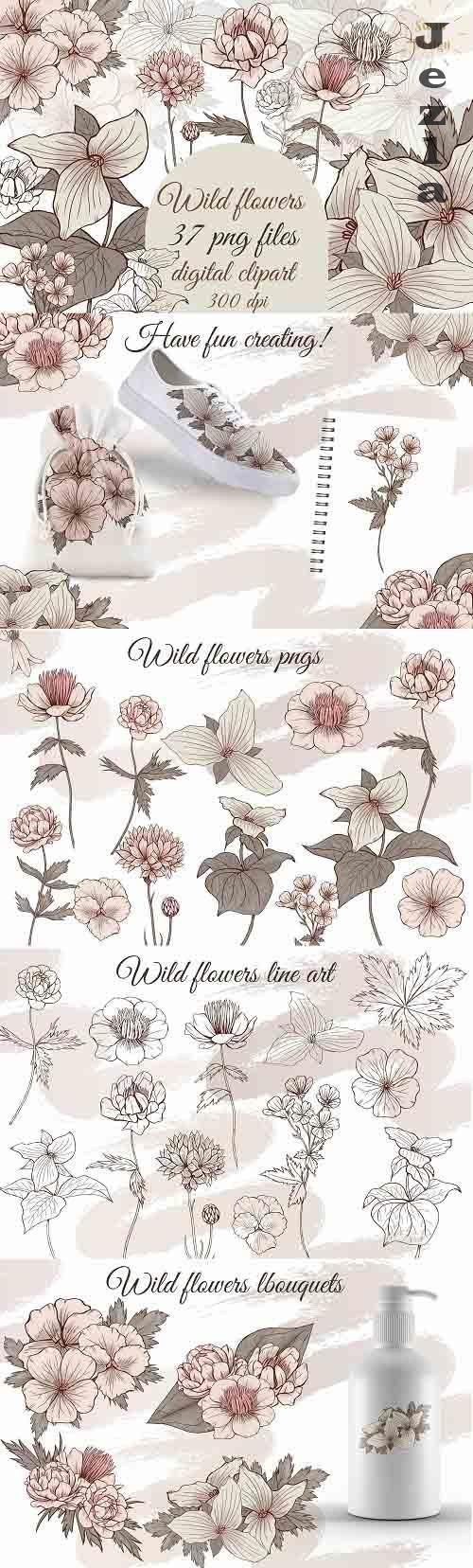Elegant vintage flowers clipart, line art florals png, beige - 1369098