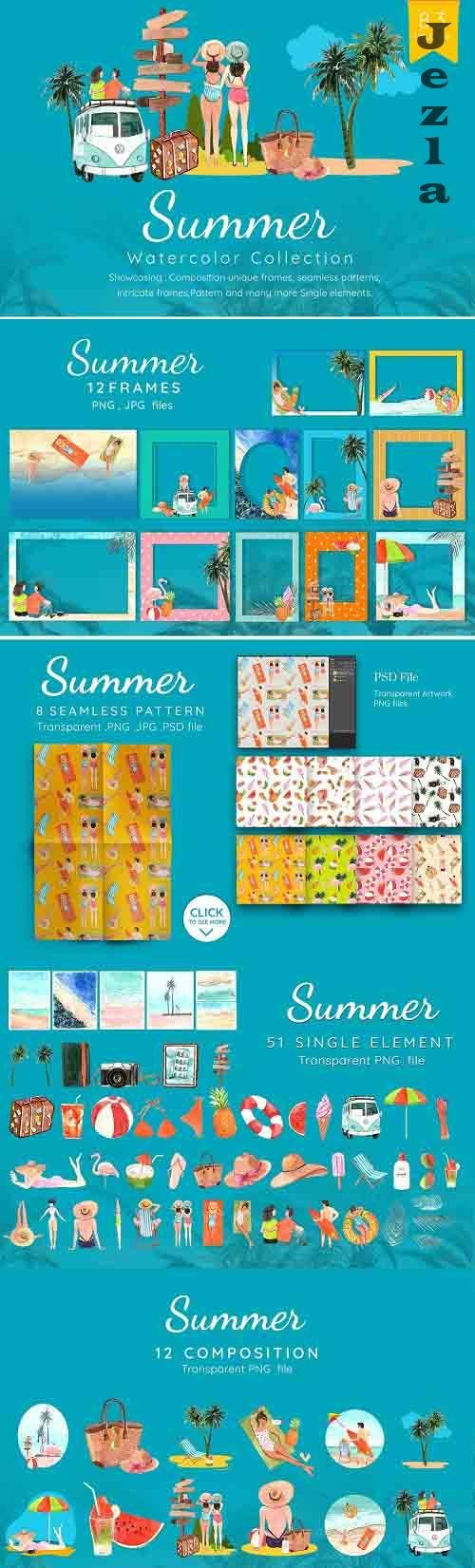 Summer on the beach Watercolor - 6154826
