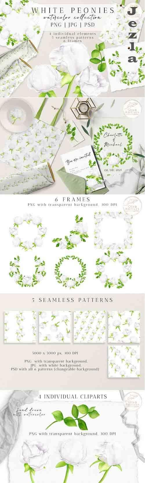 Watercolor Peony Flowers Clipart Collection. Floral Wreaths - 1336487
