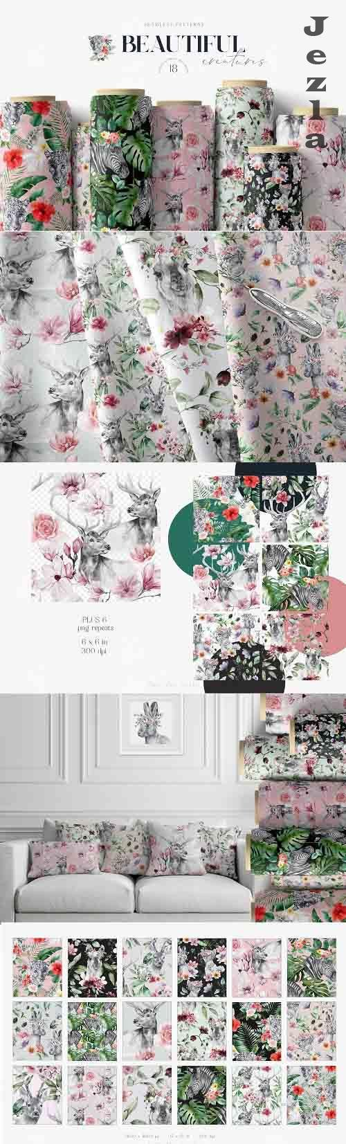 Animals and Flowers Seamless Patterns | Summer Patterns - 1373134