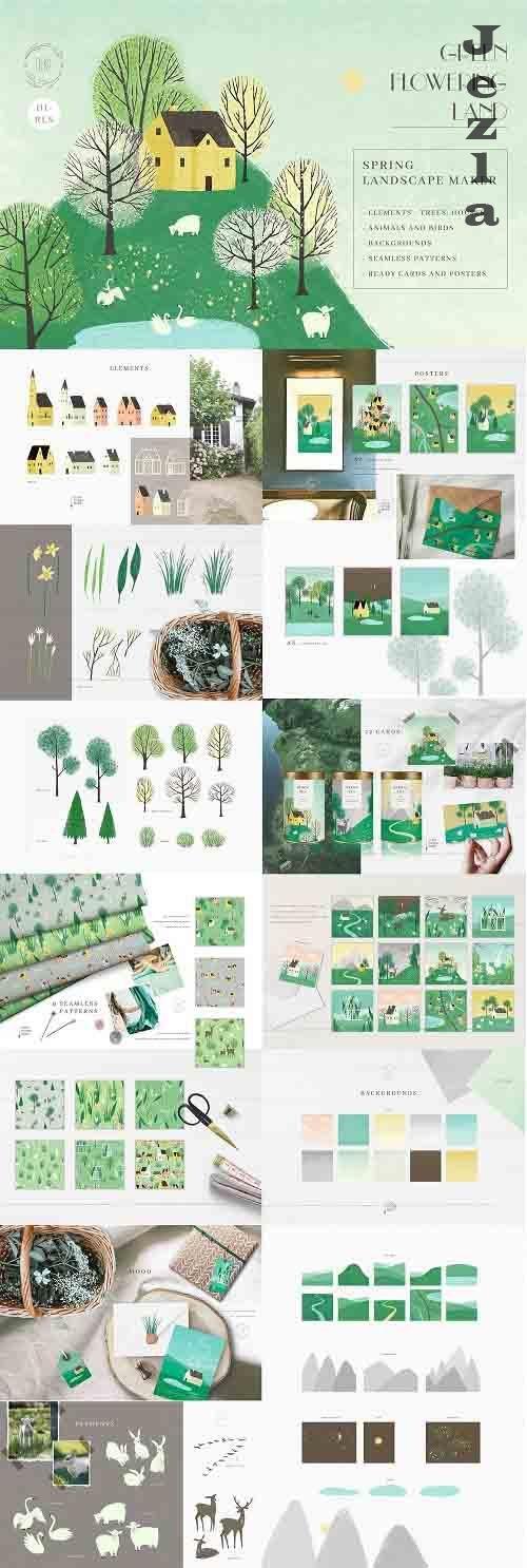 Green Flowering Land.Landscape maker - 6161843