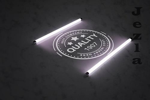 Logo in light of fluorescent lamp - 6169421