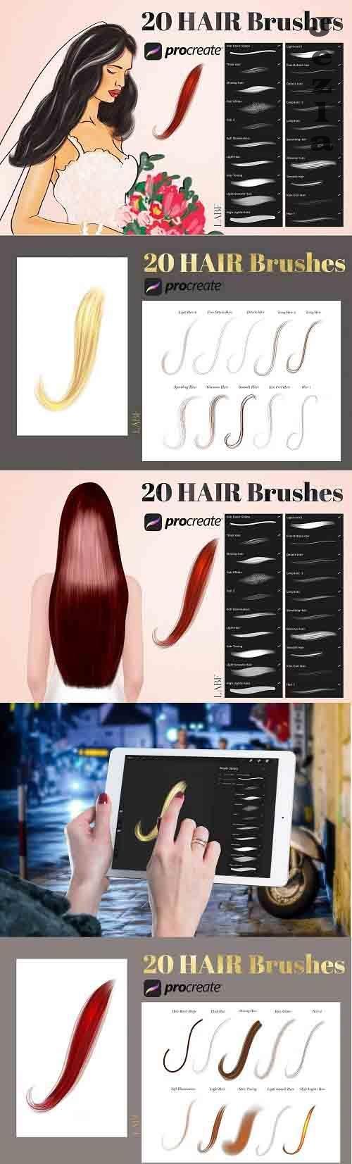 20 Procreate Hair Brushes - 6179058