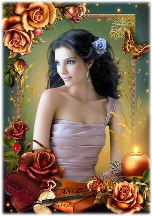 Цветочная рамка с изящными розами - Романтическое настроение