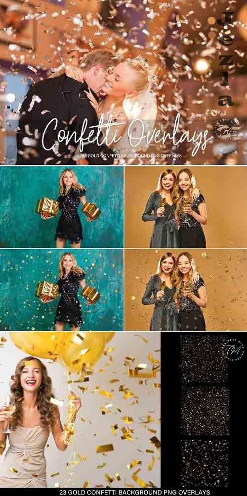Gold Confetti overlays, confetti overlay - 1394458
