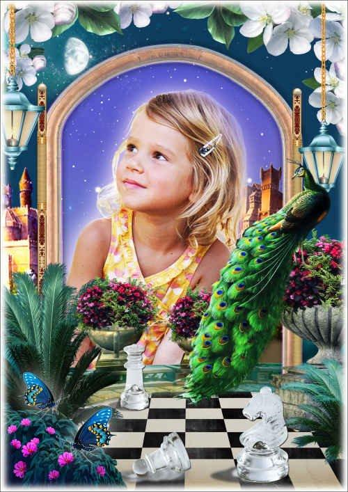 Рамка для фото с красивым павлином - В сказочном замке