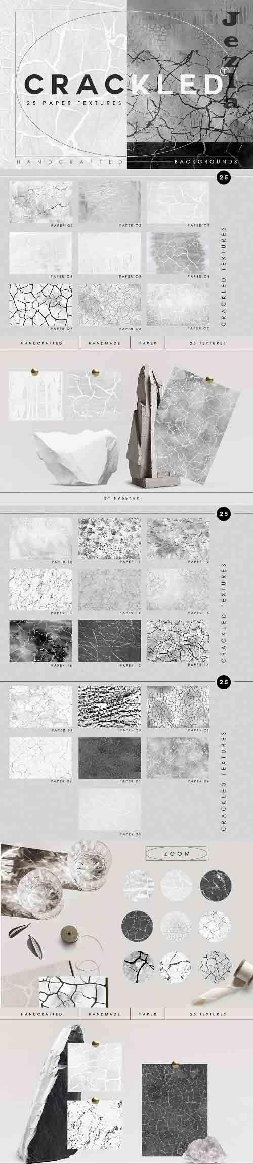 Abstract Crackled Paper Textures - 6189945