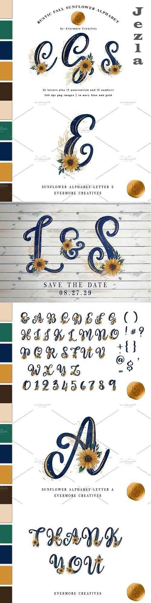 Rustic Fall Sunflower Alphabet - 6074794