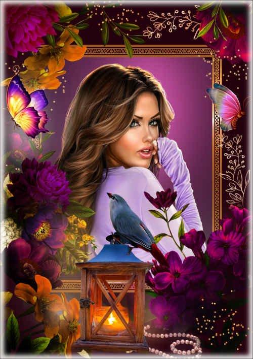 Романтическая, цветочная рамка для фото - Дал крылья, а потом отнял. В моей душе опять провал..