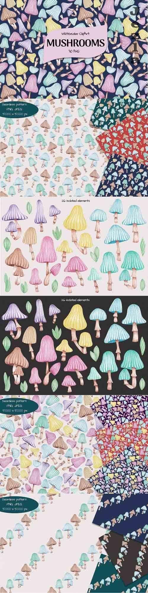 Watercolor ClipArt Mushrooms - 1389527