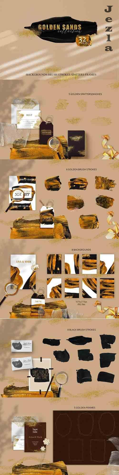 Abstract digital grunge black ang gold brush strokes - 1411716